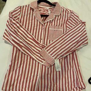 100% cotton red and white striped pajamas